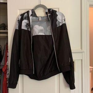 Forever 21 Black Workout Jacket w/ Floral Pattern